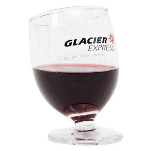 Schräges Glas mit dem Glacier-Express Logo