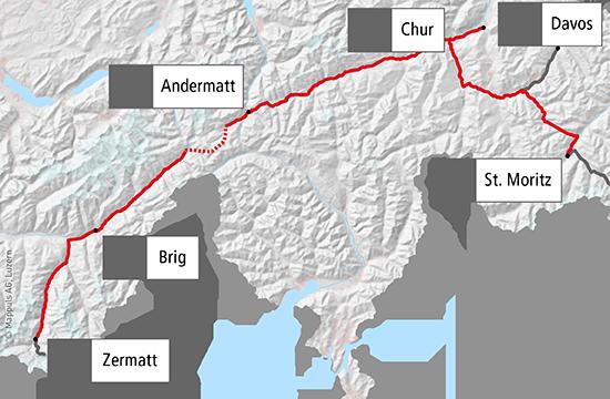 Glacier Express - Route on arctic circle map, lauterbrunnen map, cape town map, zermatt map, milan map, japan map, whistler village gondola map, aletsch glacier map, many glacier map, bahn glacier map, switzerland map, sydney map, lake garda map, bellinzona map, albania map, alps map, italy map, davos map,